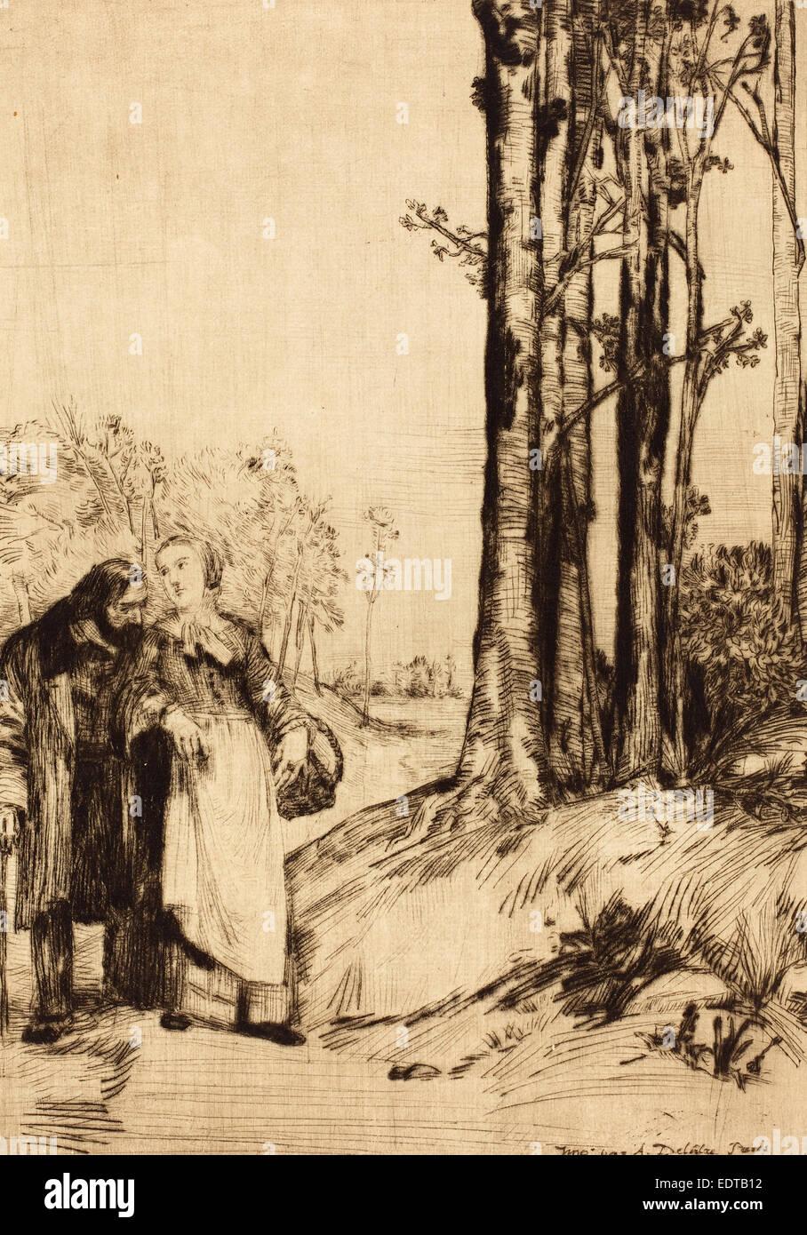 Alphonse Legros, Spaziergang der Genesende (La Promenade du Rekonvaleszenten), Französisch, 1837-1911, Kaltnadelradierung Stockbild