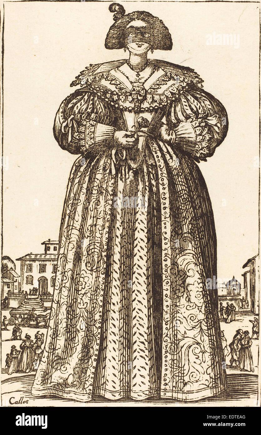 nach Jacques Callot, maskierte edle Frau, Holzschnitt Stockbild