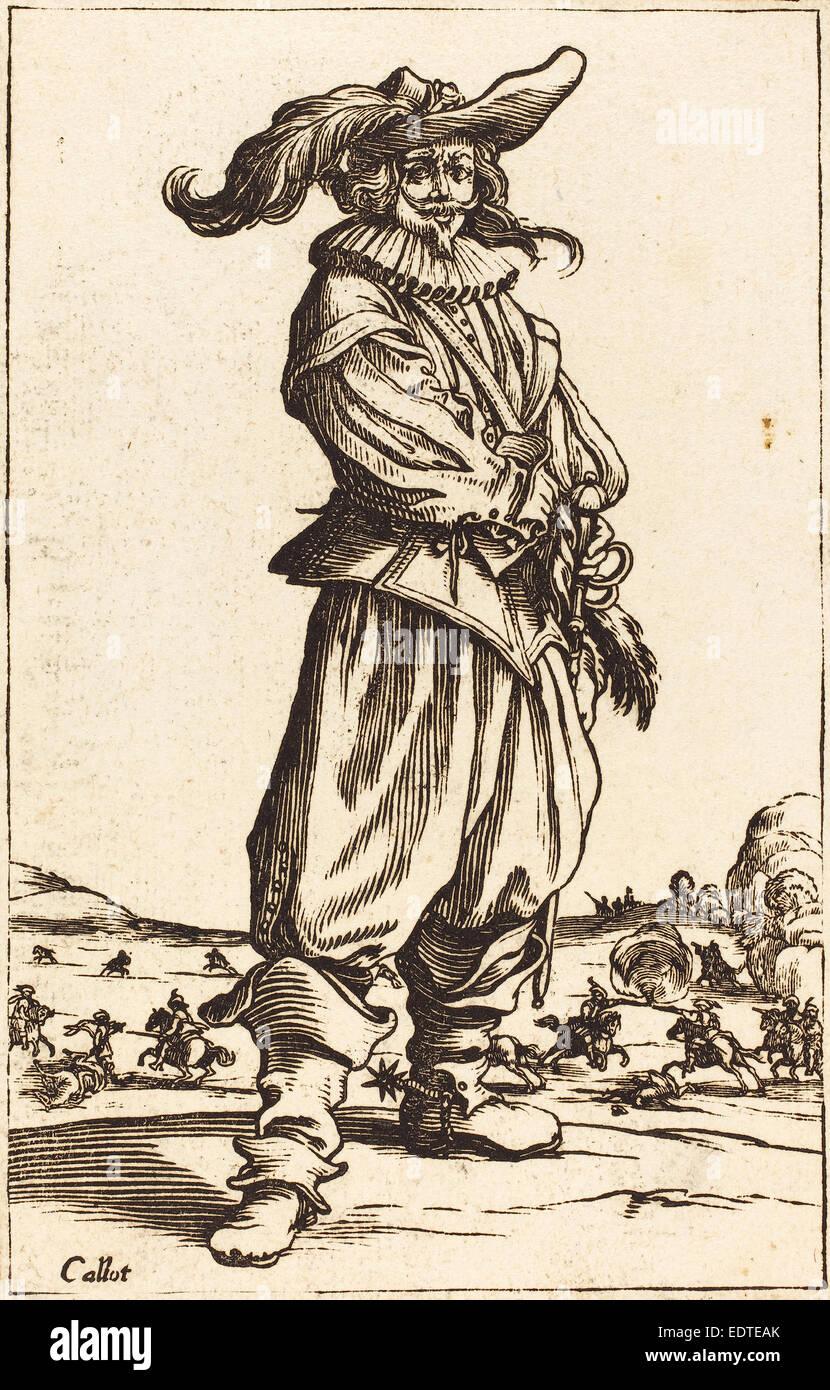 nach Jacques Callot, Soldat mit gefiederten Kappe, Holzschnitt Stockbild