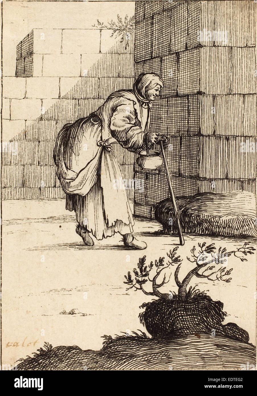 17 Jahrhundert Bild Architektur: Nach Jacques Callot Radierung Bettler Frau, 17