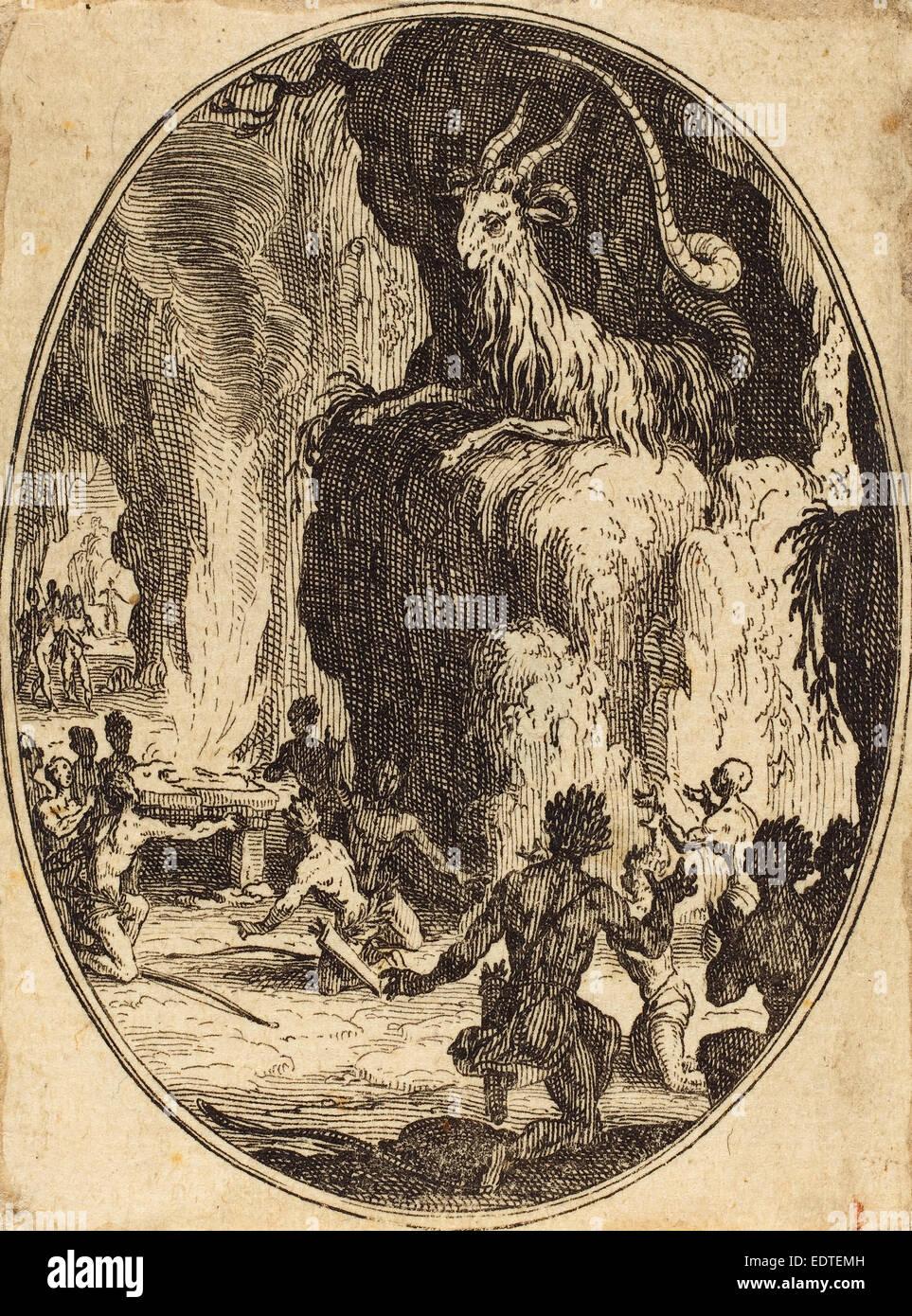 Jacques Callot (Französisch, 1592-1635), The Cult des Dämons, vermutlich 1627, Radierung Stockbild