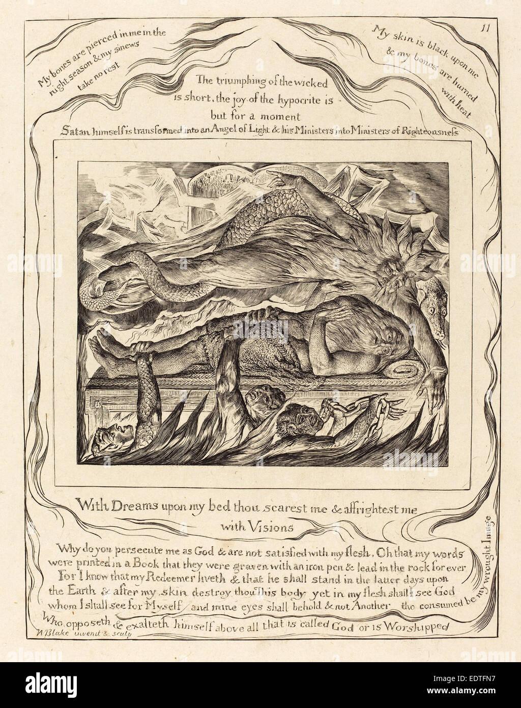 William Blake (Britisch, 1757-1827), Hiobs böse Träume, 1825, Gravur Stockbild