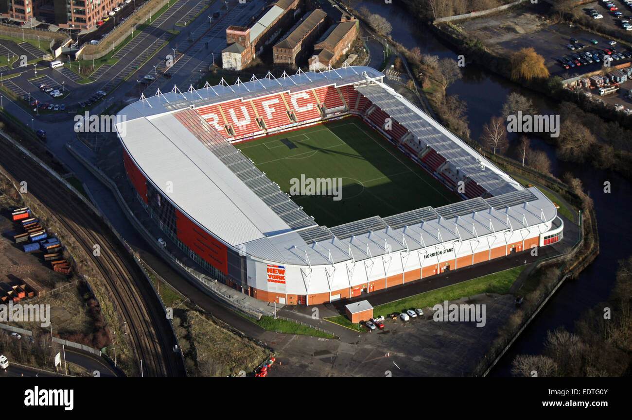 Luftaufnahme von Rotherham United FC Stadion, UK Stockbild