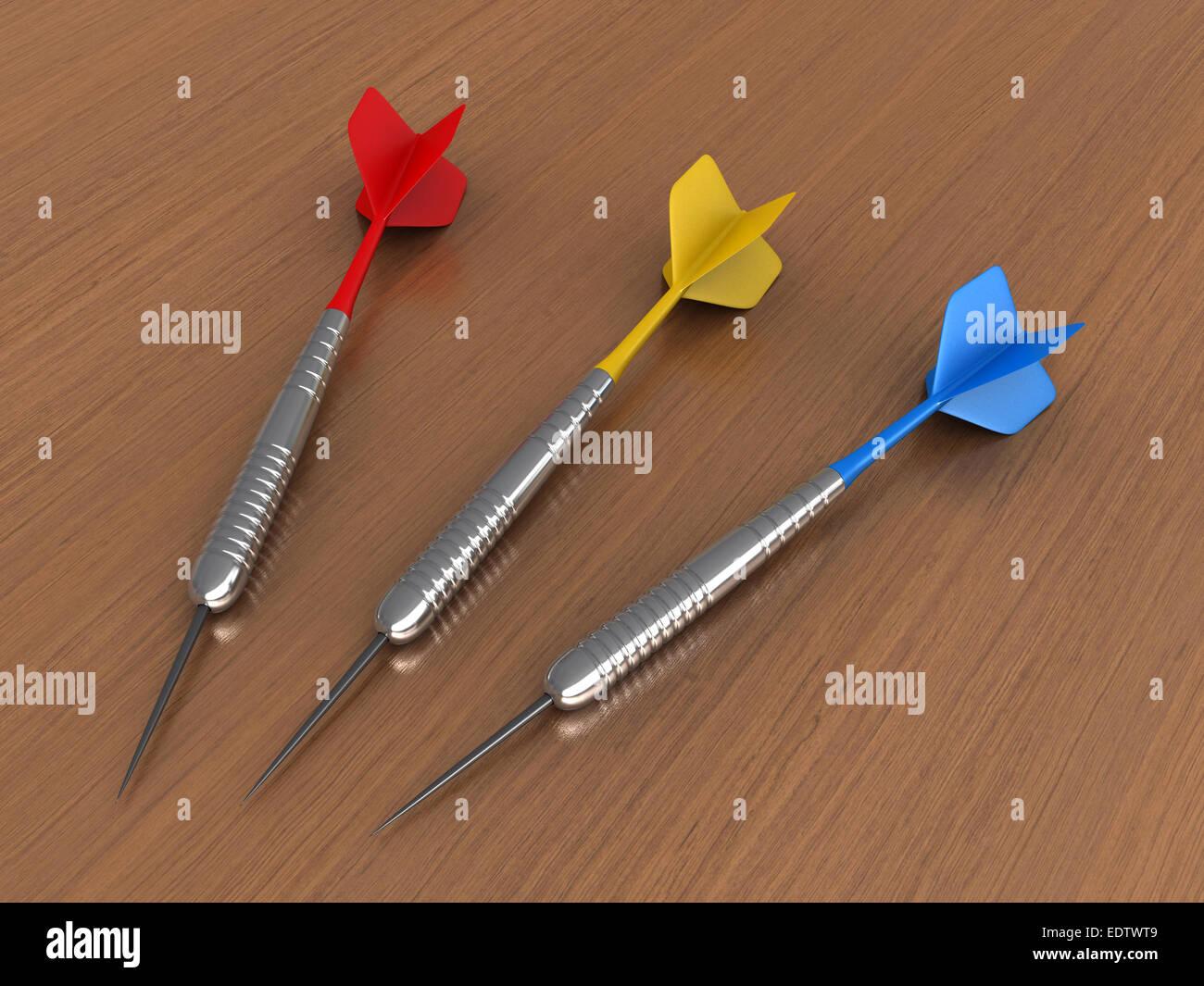 3D Render Darts über Tabellenhintergrund Stockbild
