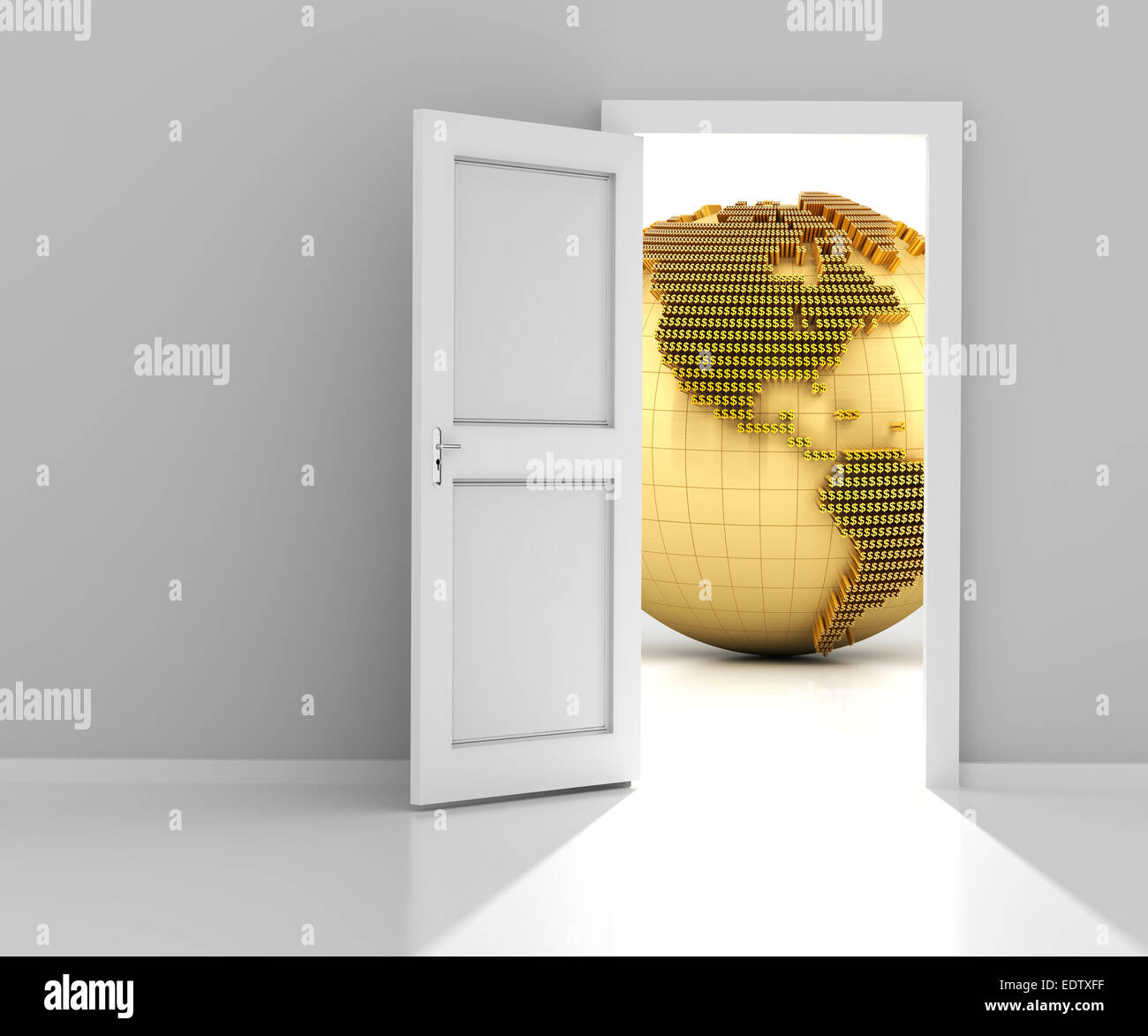 Tür der Finanzwelt, 3d render Stockbild