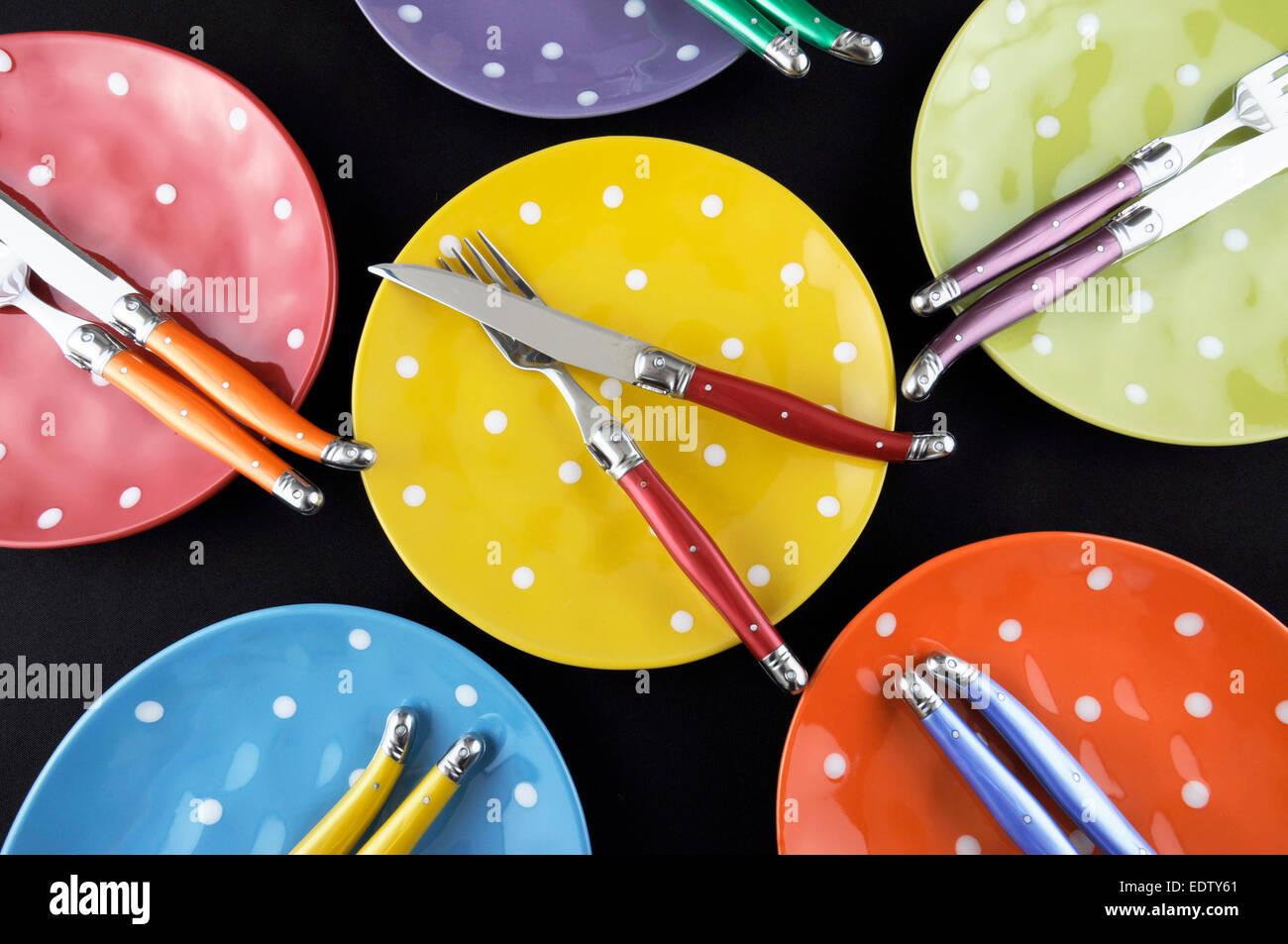 Abendessen Partei Tischdekoration Mit Rot Blau Gelb Orange Grun