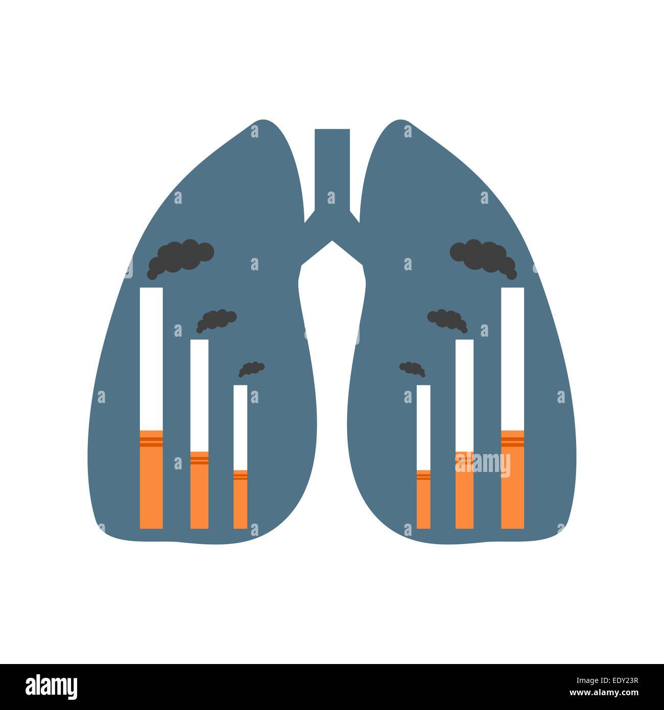 Lungen mit Rauchen Fabriken Stockbild