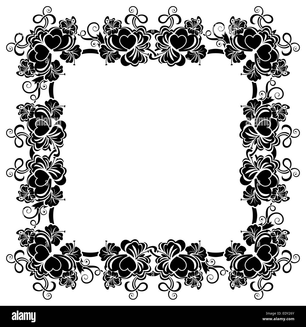 Schwarzer Rahmen mit Bordüre mit Herzen Stockfoto, Bild: 77426467 ...