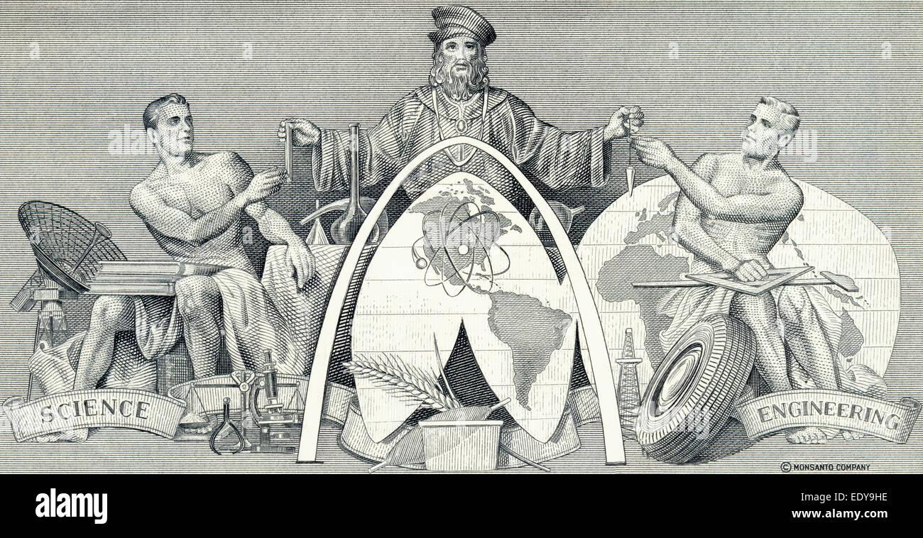 Stahlstich von einem historischen Teilen, Detail, allegorische Darstellung der weltweiten Forschung in Technik und Stockbild