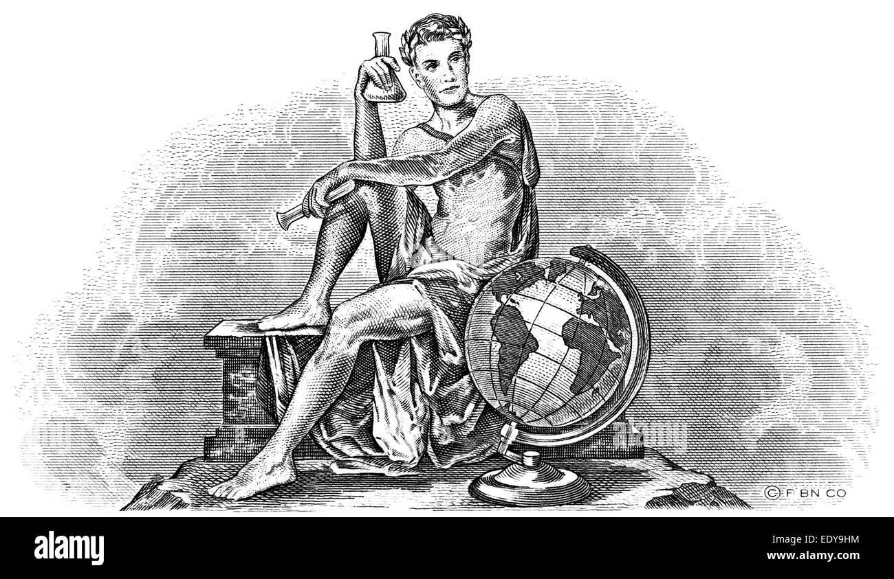 Stahl, Gravur, allegorische Darstellung, globale Forschung in der Chemie, historische Aktie, Detail, Stockbild