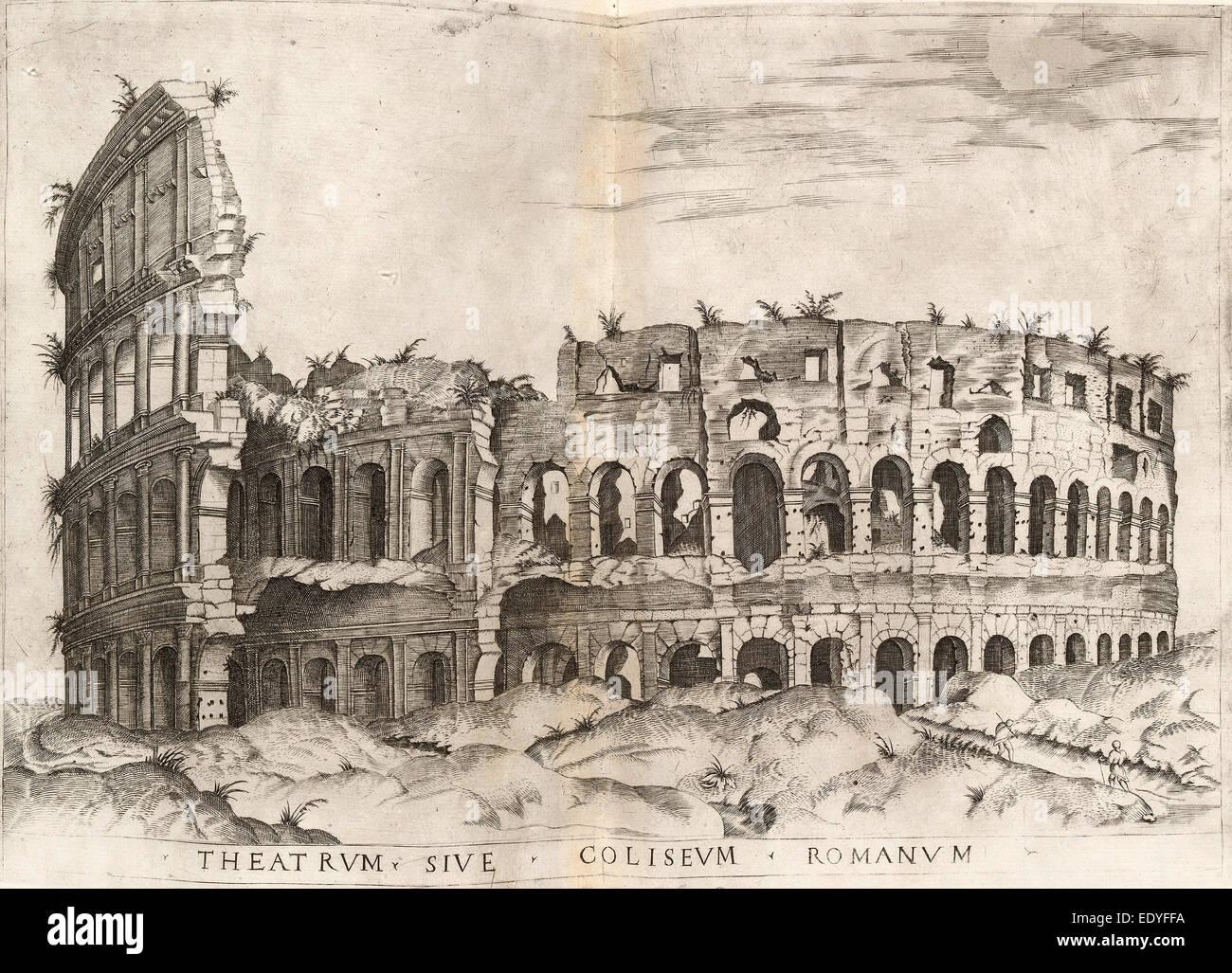 Italienische 16.Jahrhundert, Kolosseum, Gravur Stockbild