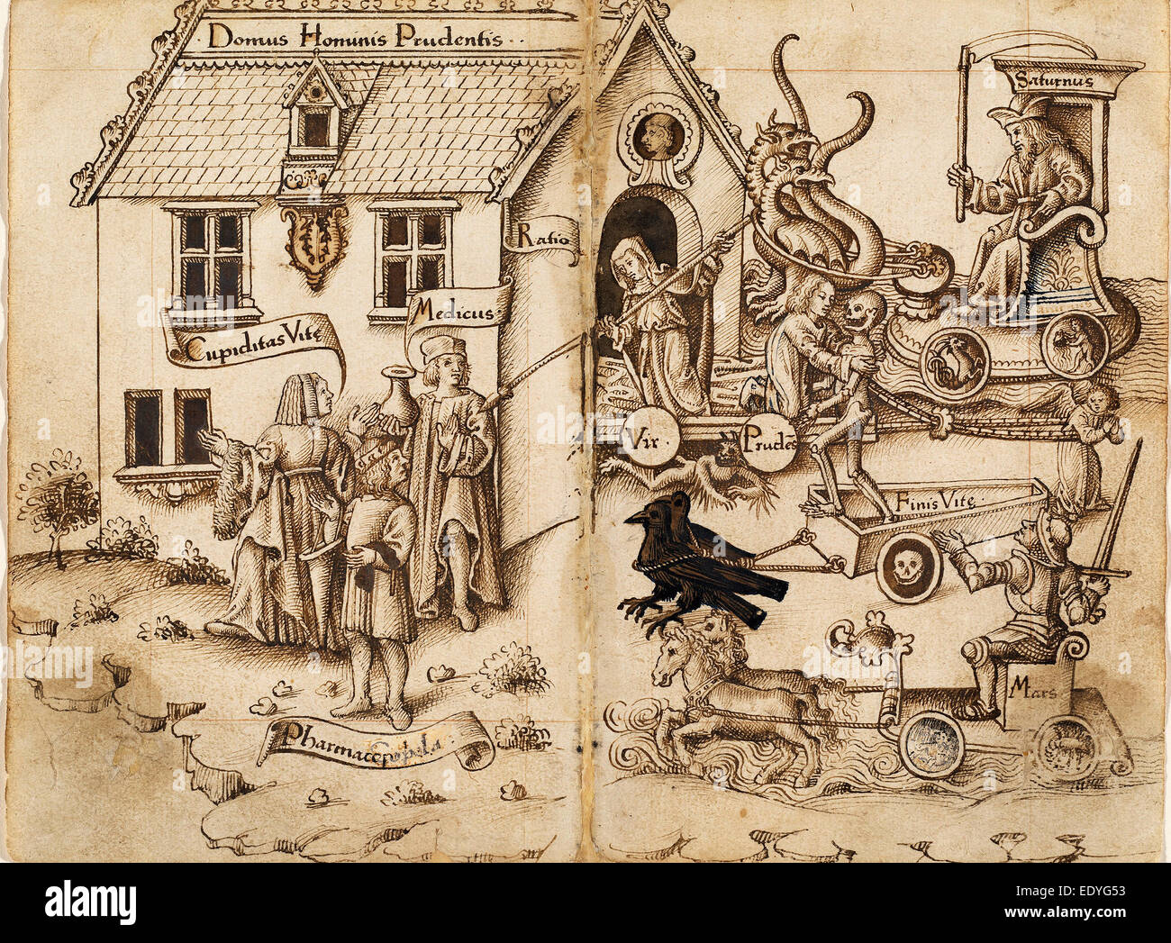 """Anfang des 16. Jahrhunderts, """"Schalten Sie zurück wenn Sie kommen Sie nicht am Ende"""" Französisch Stockbild"""
