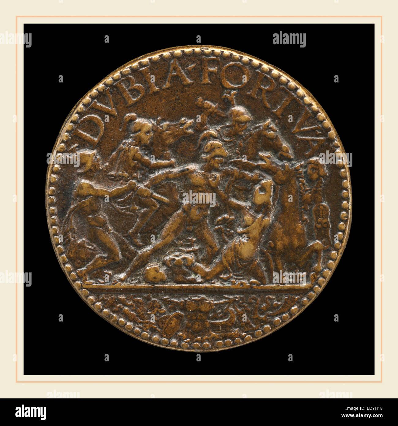 Antico, Italienisch (c. 1460-1528), Kampfszene, bronze Stockbild