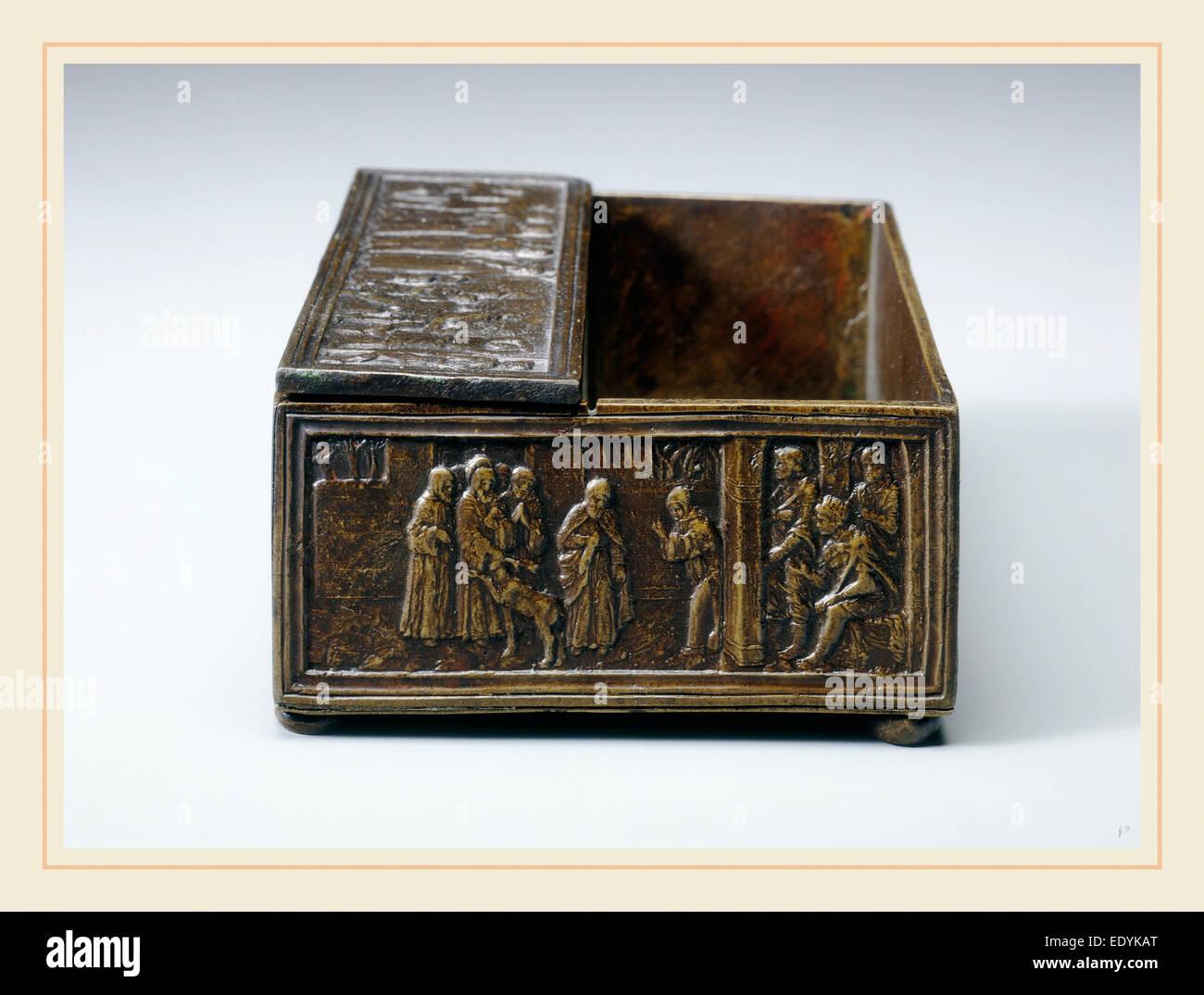 nach Bartolomeo Spani, zwei Szenen aus dem Leben von Saint Simeon von Polirone: das Wunder des Hirsches (Vignette) Stockbild