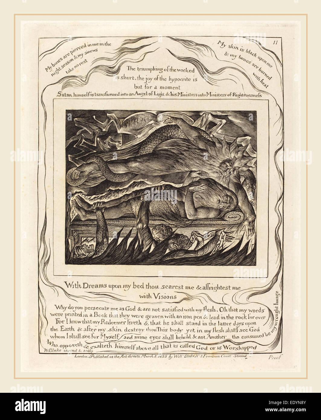 William Blake, Brite/Britin (1757-1827), Hiobs böse Träume, 1825, Gravur auf Indien Stockbild