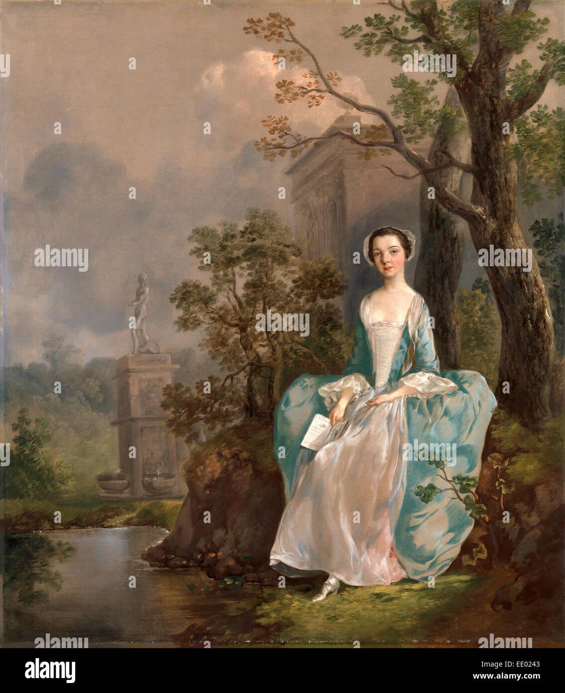 Porträt einer Frau-Mädchen mit einem Buch sitzend in einem Park Sitzendes Junges näher in Einer Parklandschaft, Stockbild