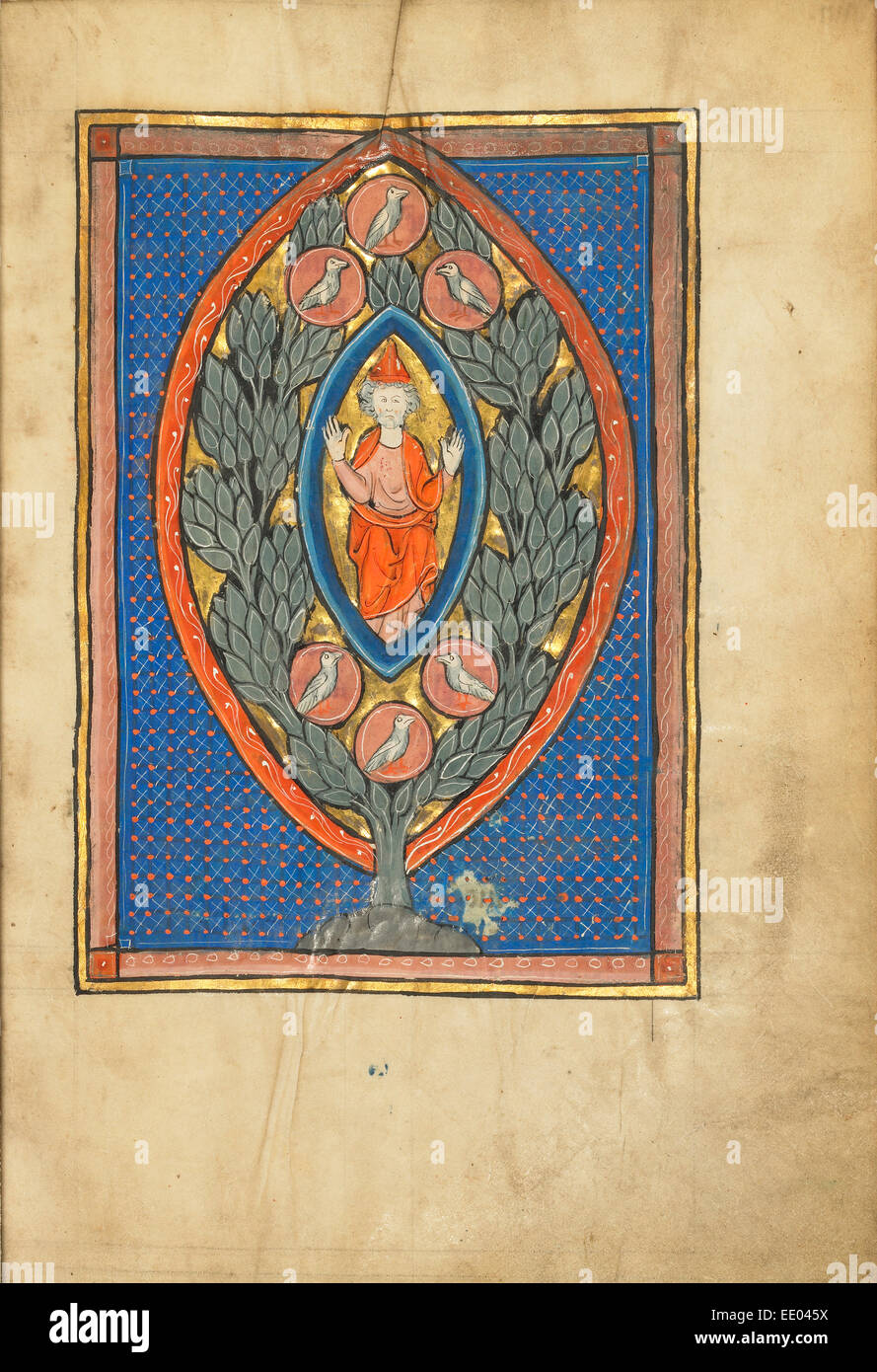 Ein Mann, thront in einer Mandorla in einem Baum; Unbekannt; Thérouanne?, Frankreich (ehemals Flandern), Europa Stockbild