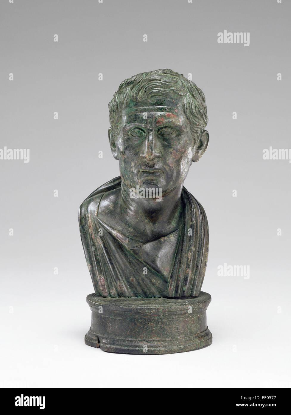Porträtbüste von Menander; Unbekannt; 1 - 25; Bronze Stockfoto