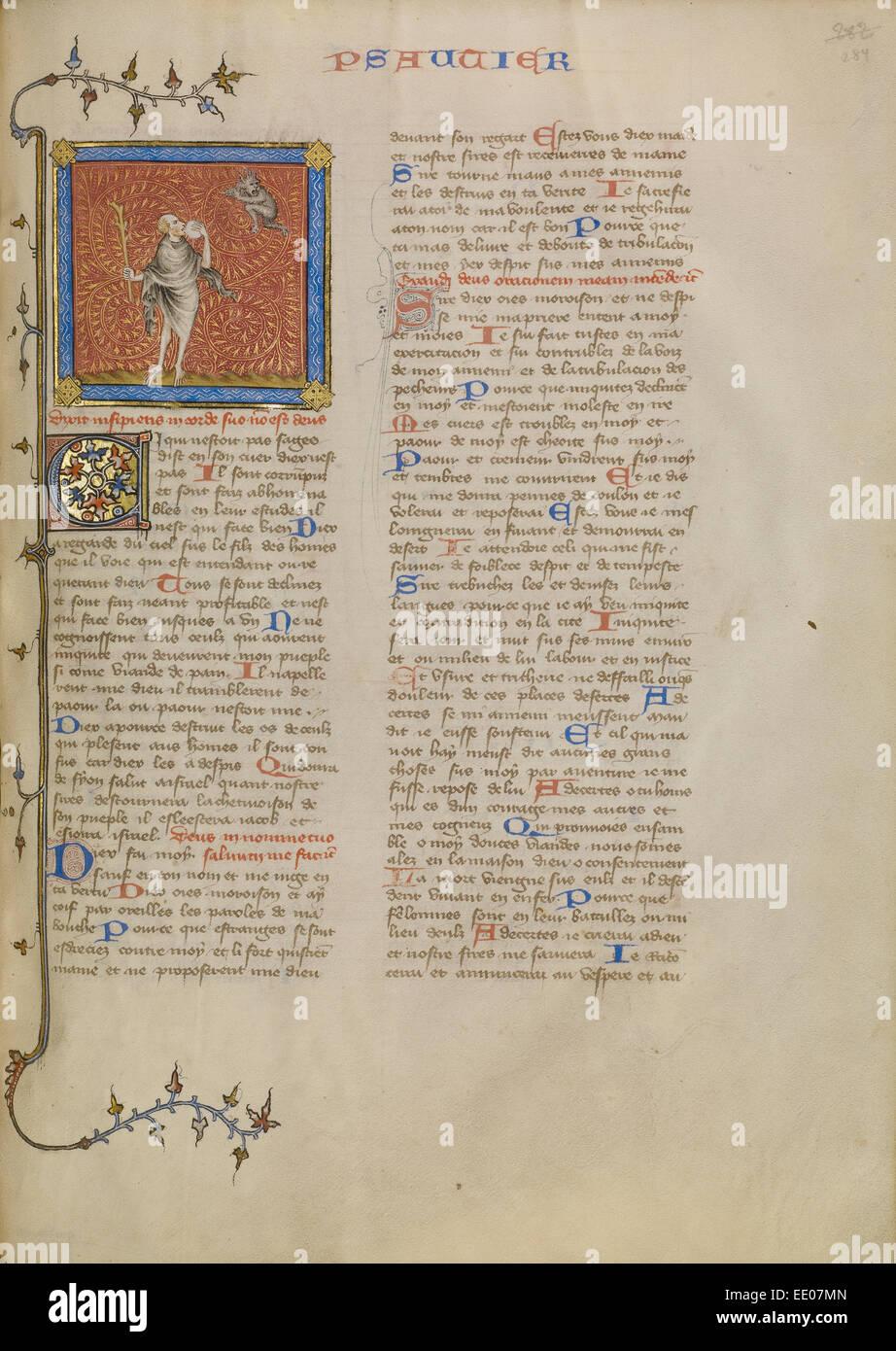 Der Narr und ein Dämon; Meister des Jean de Mandeville, Französisch, aktiv 1350-1370; Paris, Frankreich; Stockbild