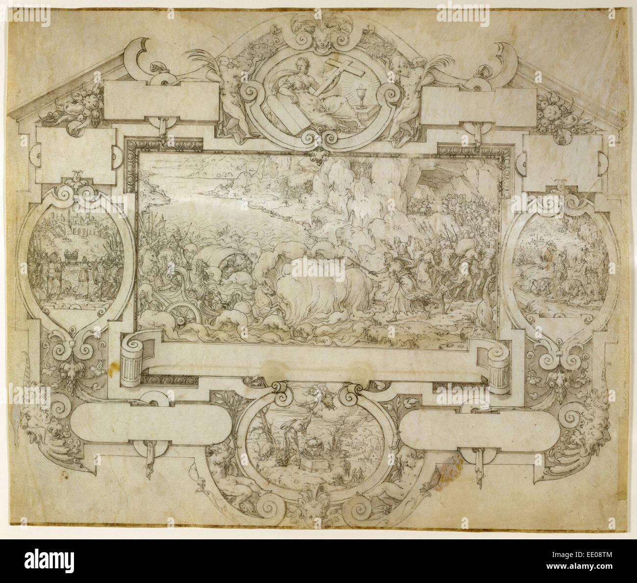 Die Zerstörung der Pharao der Armee und andere Szenen in einer Kartusche; Etienne Delaune, Französisch, Stockbild