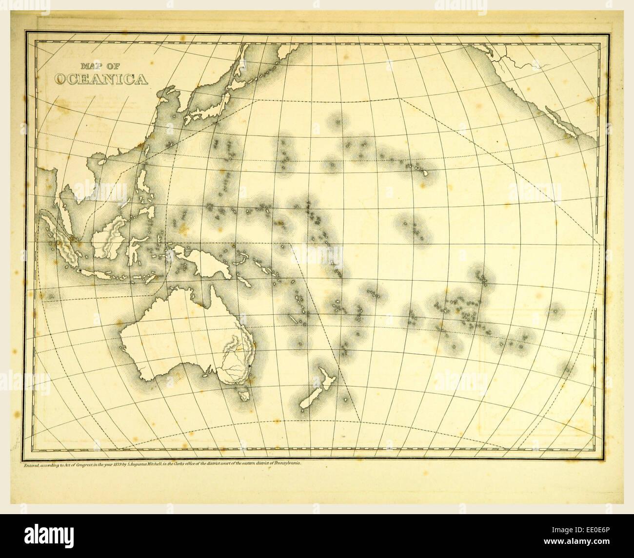 Mitchells Atlas Umriss Karten, Karte von Oceanica, 19. Jahrhundert Gravur, Oceania Stockbild