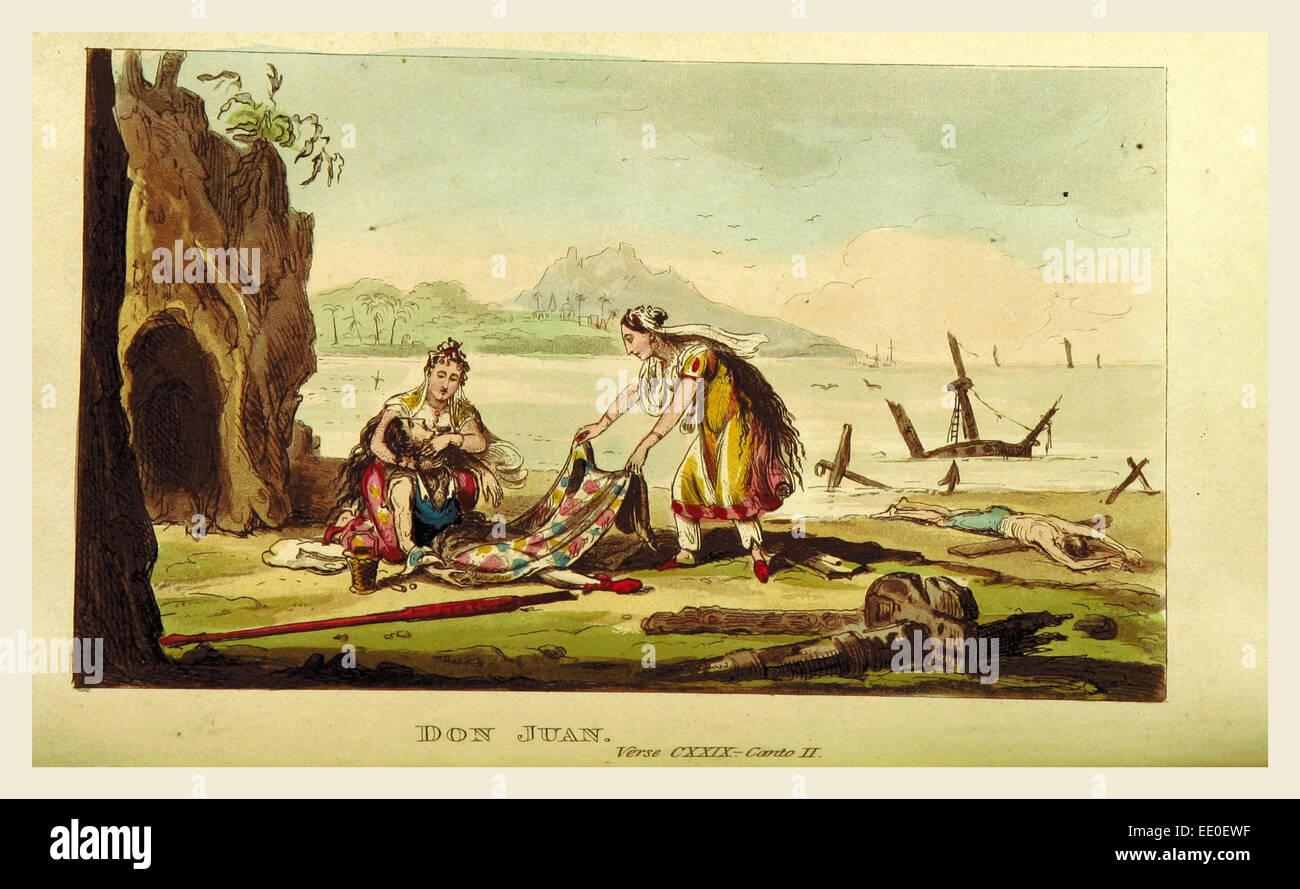 Don Juan. Cantos I.-V.  Illustrationen von I. R. Cruikshank, 19. Jahrhundert Gravur Stockbild