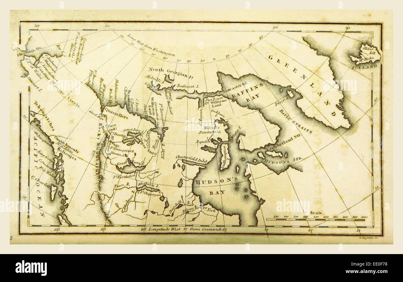 Die polaren Regionen des westlichen Kontinents erkundet, 19. Jahrhundert Gravur Stockbild