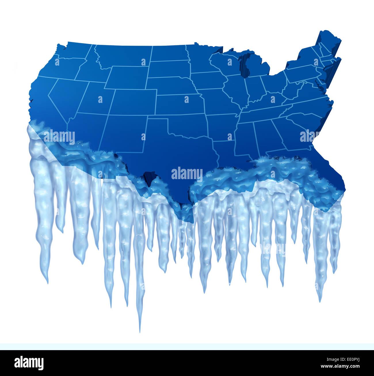 Amerikanische Tiefkühltruhe und eisige Kälte in den Vereinigten Staaten-Konzept als eine blaue Karte von Stockbild