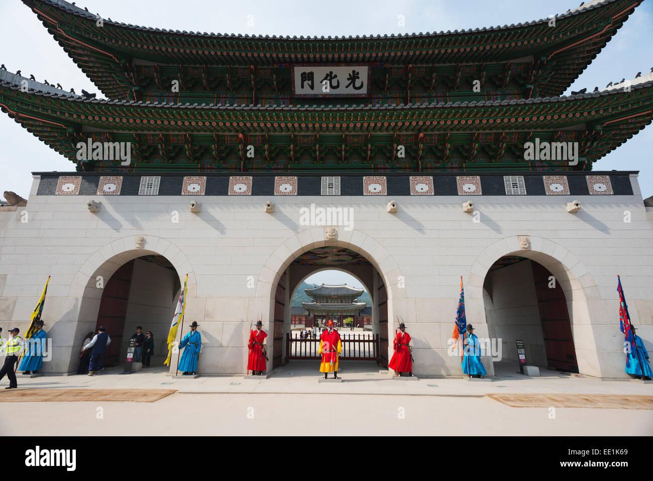 Wechsel der Wachen Zeremonie, Gyeongbokgung-Palast, Seoul, Südkorea, Asien Stockbild