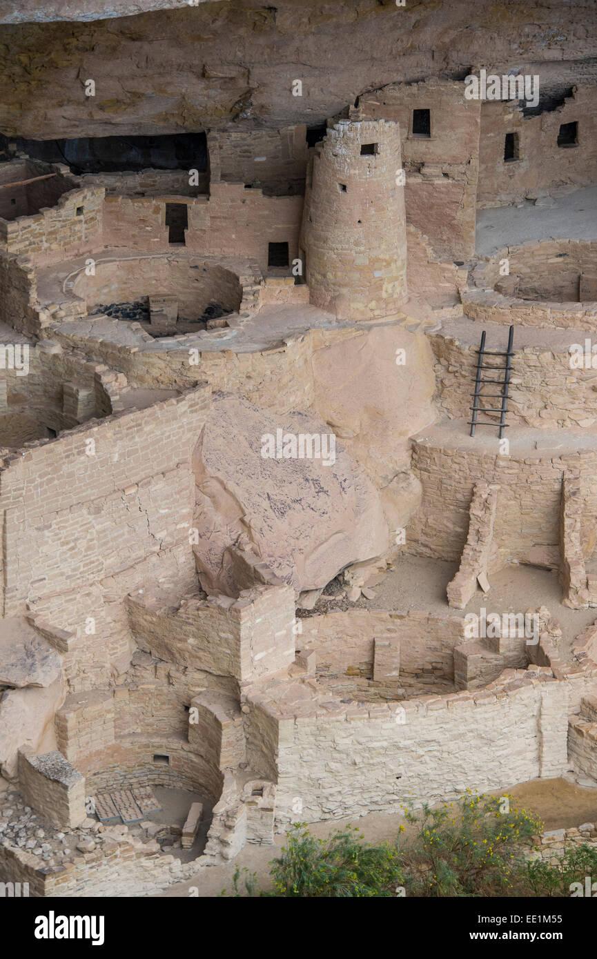 Der Cliff Palace Inder Wohnung, Mesa Verde National Park, UNESCO World Heritage Site, Colorado, Vereinigte Staaten Stockbild