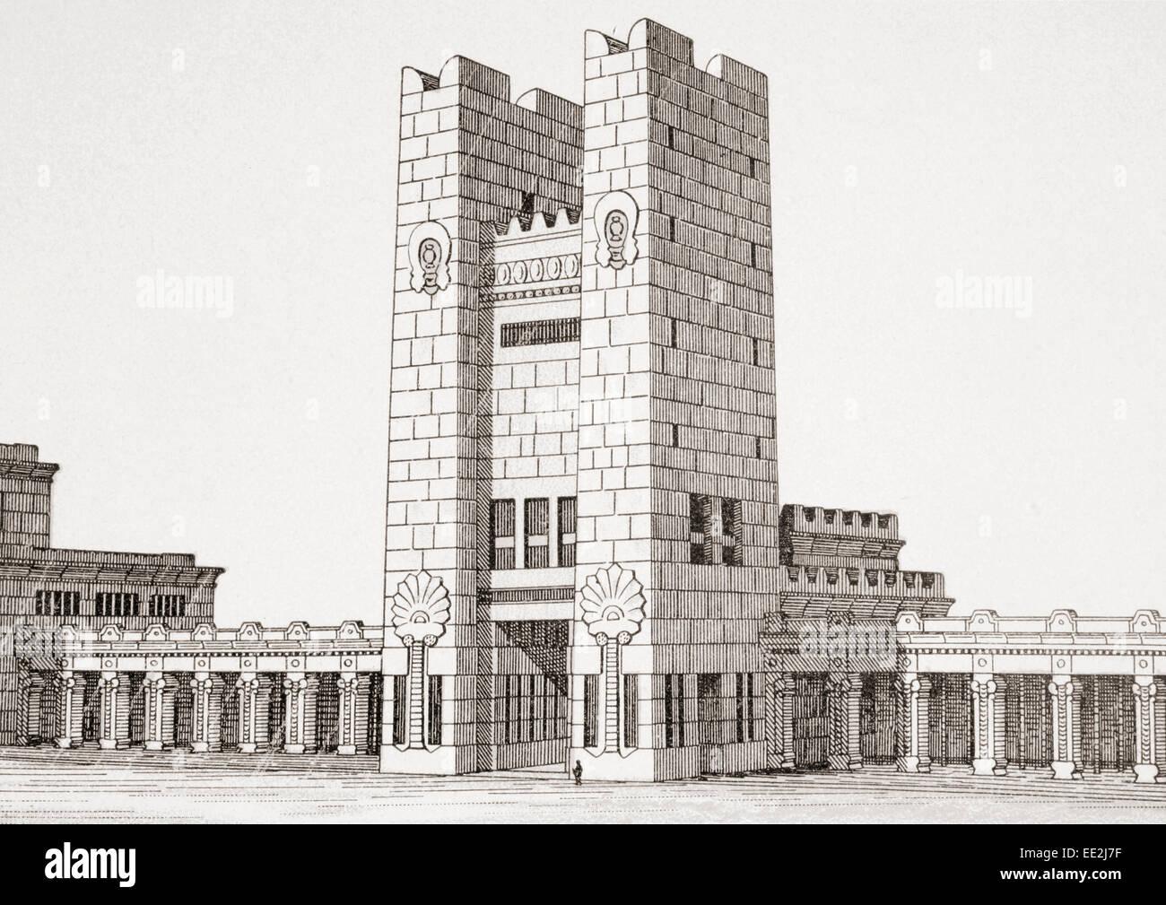 Möglichen Wiederaufbau der südlichen Eingang zum Tempel von Jerusalem nach Charles Chipiez 1835-1901. Stockbild