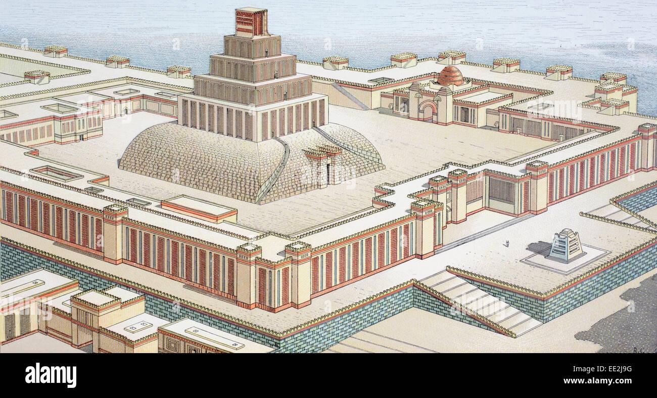 Mögliche Rekonstruktion eines assyrischen Tempels nach Charles Chipiez 1835-1901.  Französischer Architekt Stockbild