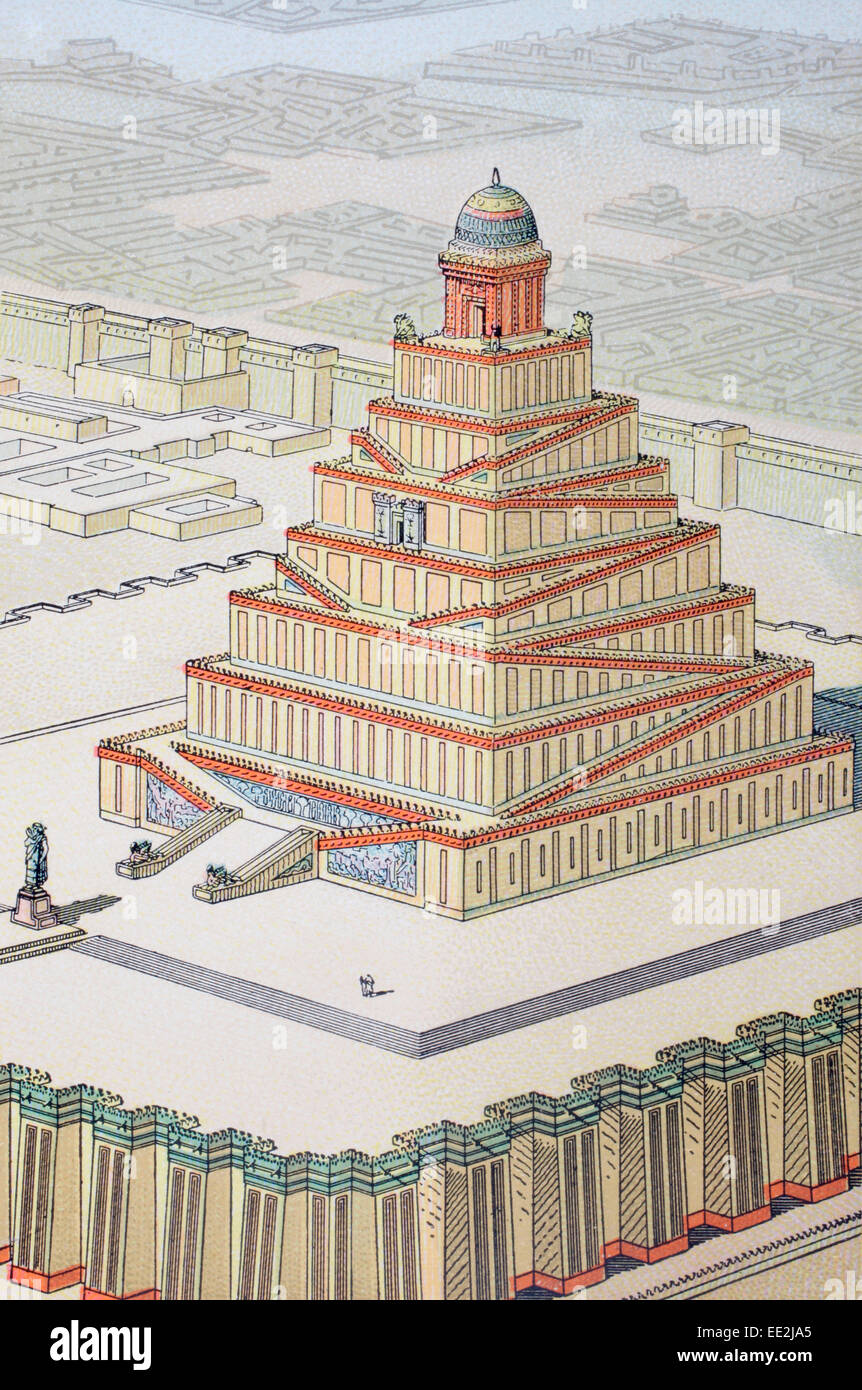 Mögliche Rekonstruktion eines chaldäischen Tempels nach Charles Chipiez 1835-1901. Französischer Stockbild