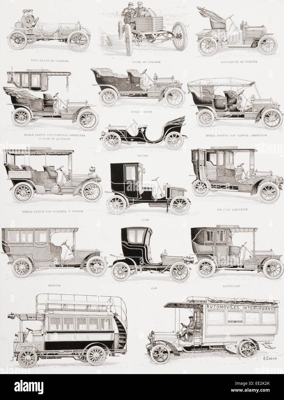 Autos und Busse aus dem ersten Jahrzehnt des 20. Jahrhunderts.  Bildunterschriften in spanischer Sprache. Stockfoto