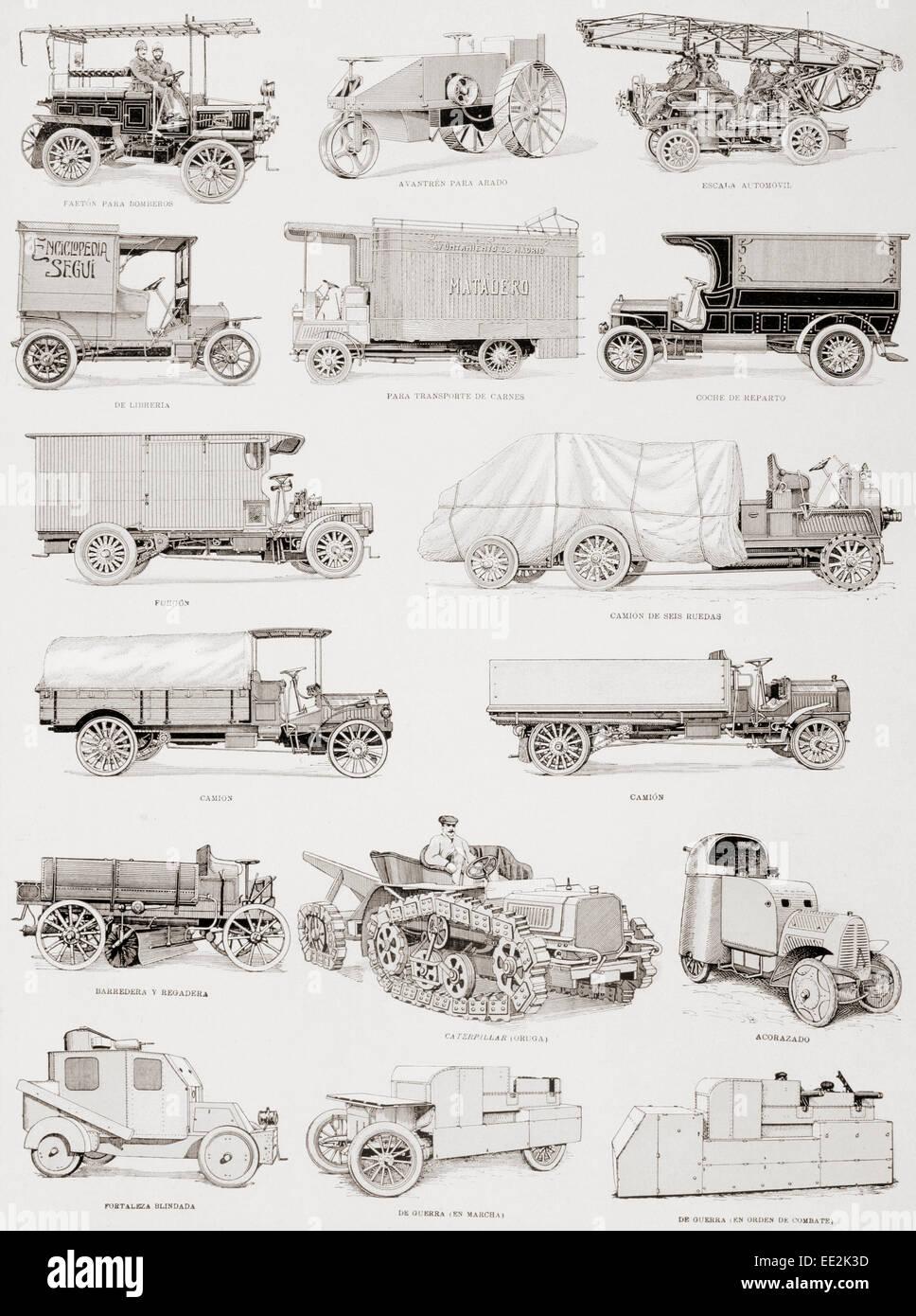 LKW, Feuerwehren und Militärfahrzeuge aus dem ersten Jahrzehnt des 20. Jahrhunderts.  Bildunterschriften in Stockbild