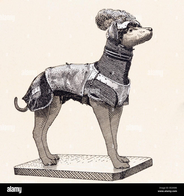 Ein Hund im Körper Rüstung.  16. Jahrhundert. Stockbild
