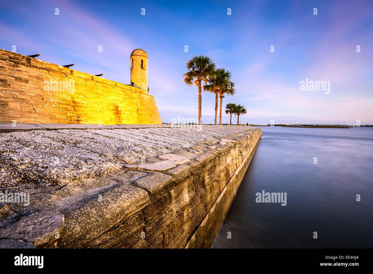 St. Augustine, Florida an das Castillo de San Marcos National Monument am Fluss Matanzas. Stockbild