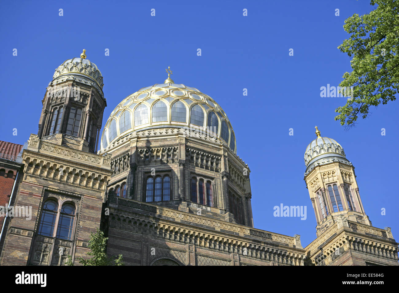 Deutschland, Berlin, Europa, Hauptstadt, Stadt, Sehenswuerdigkeit, findet der Neuen Synagoge, Architektur, Aussenaufnahme, Stockbild