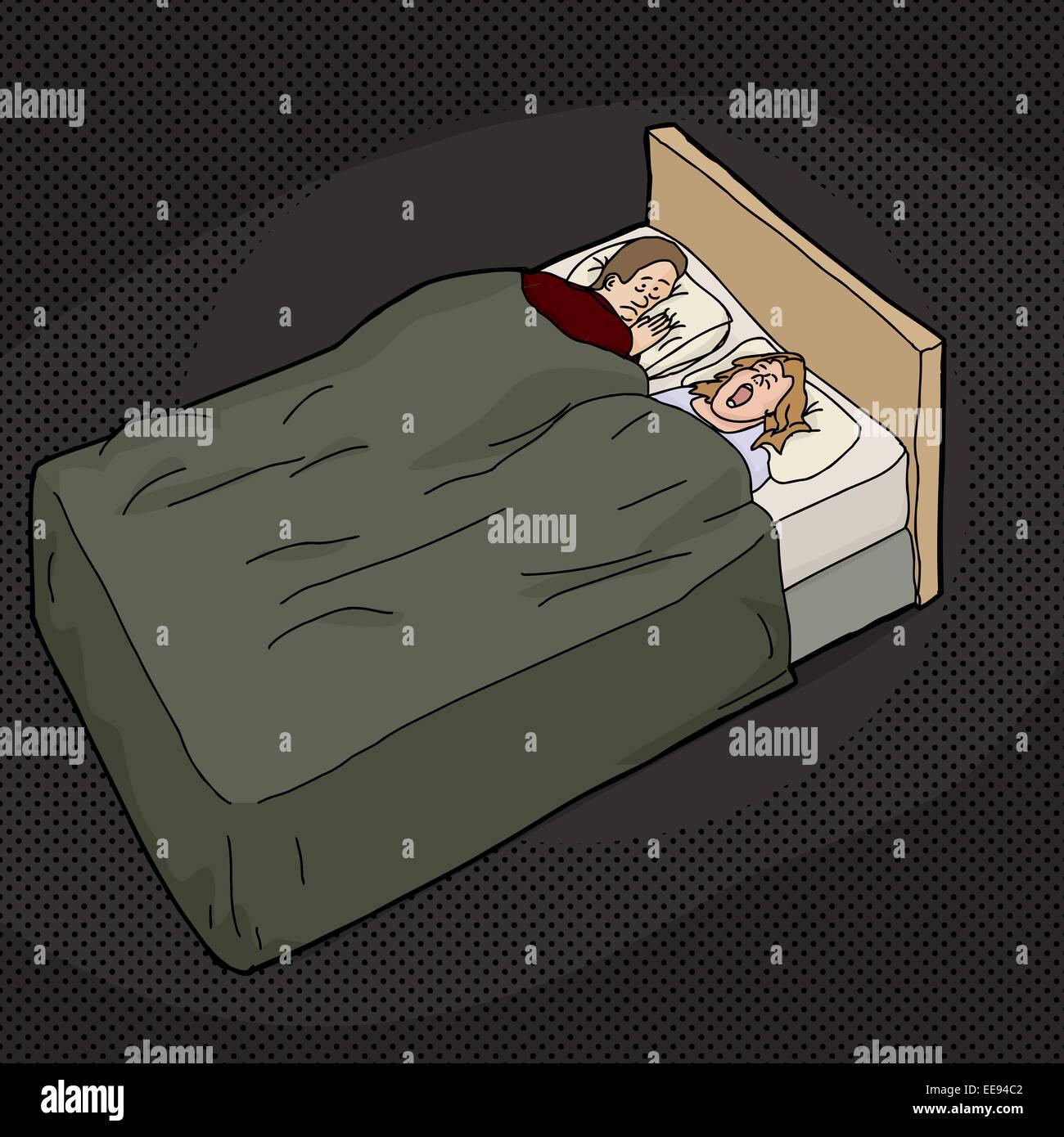 Cartoon Der Mude Mann Im Bett Mit Schnarchen Frau Stockfoto Bild