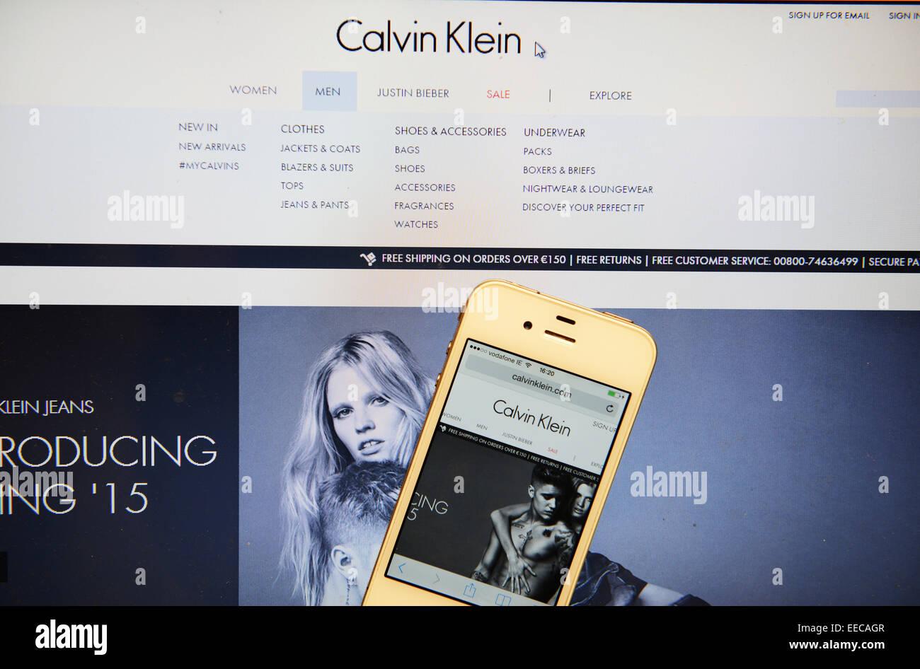 Calvin Klein Website und IPhone Stockbild