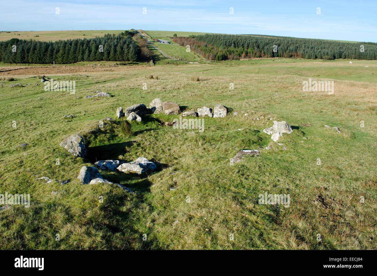 Die Überreste einer alten Wohnung auf Bodmin Moor in Cornwall, Großbritannien Stockbild