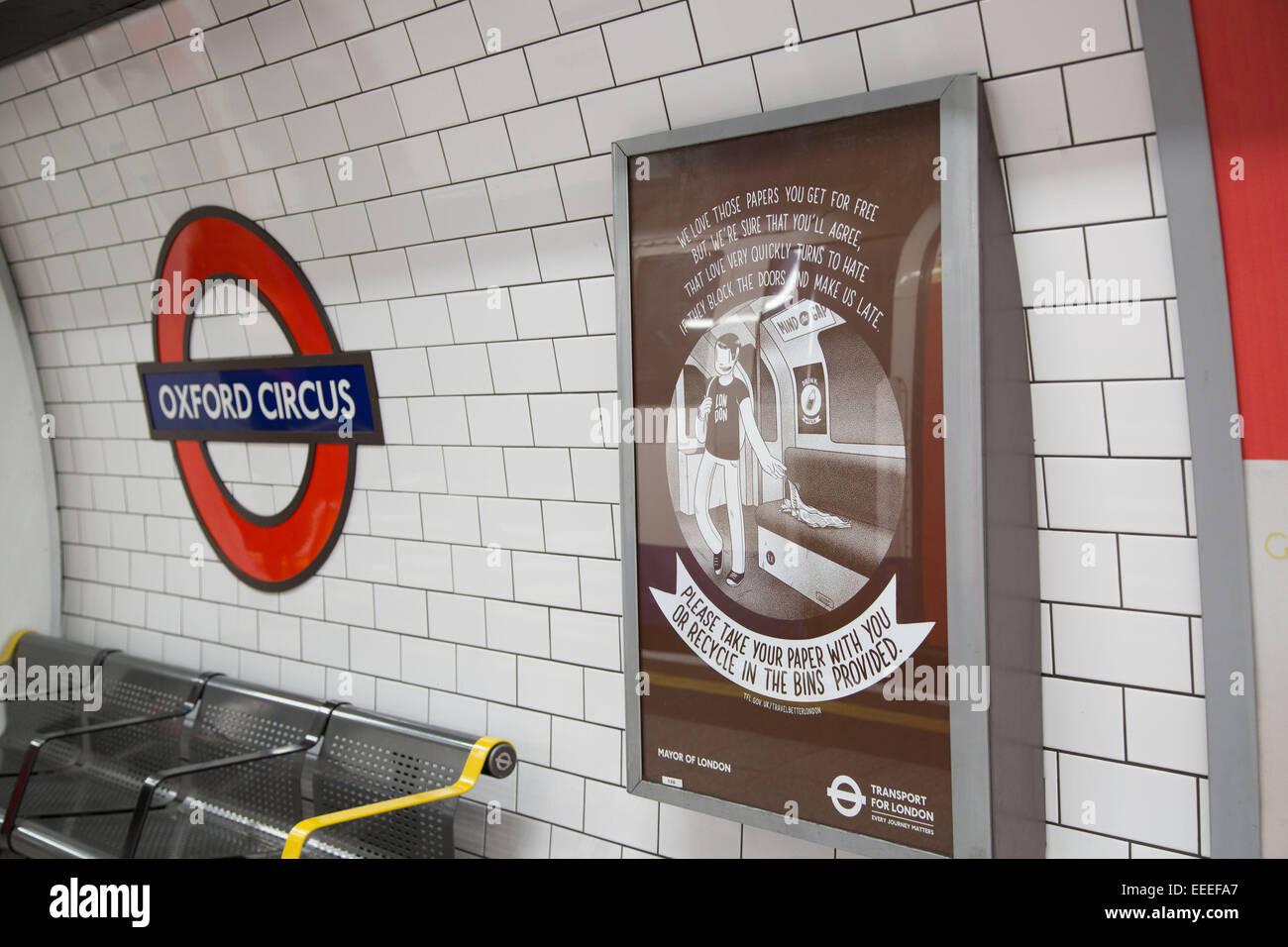 Bessere Verhaltensweisen Kampagne Plakate am Oxford Circus Stockbild