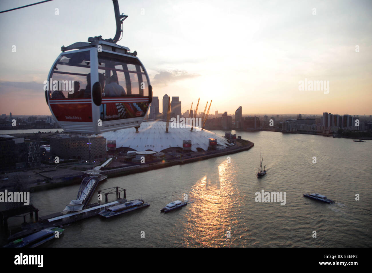 Emirates Air-Line Seilbahn Stockbild