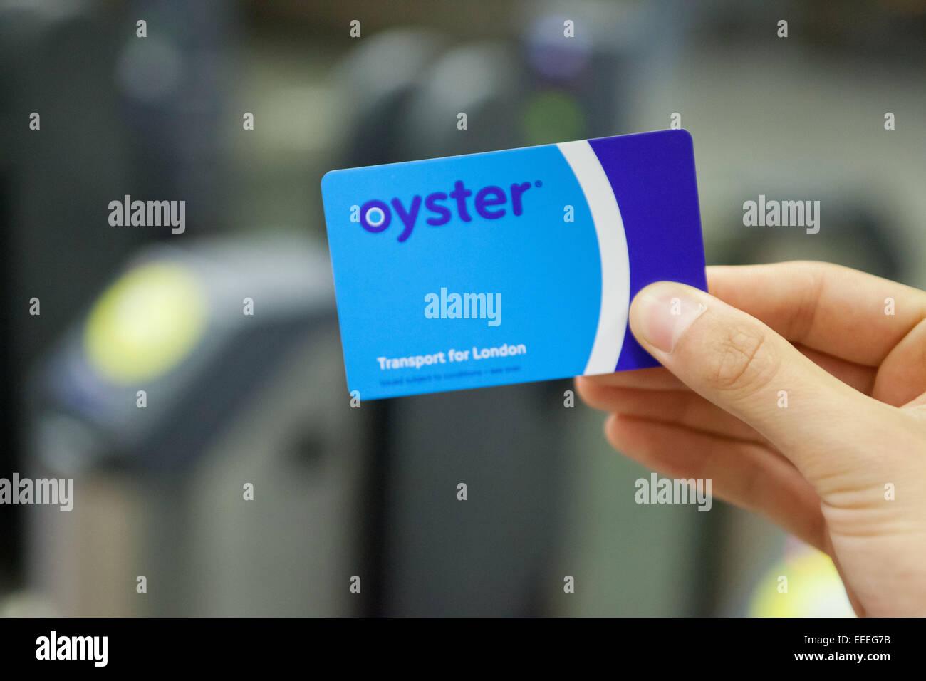 Nahaufnahme von einer Oyster Card Ticket Barrieren Stockbild