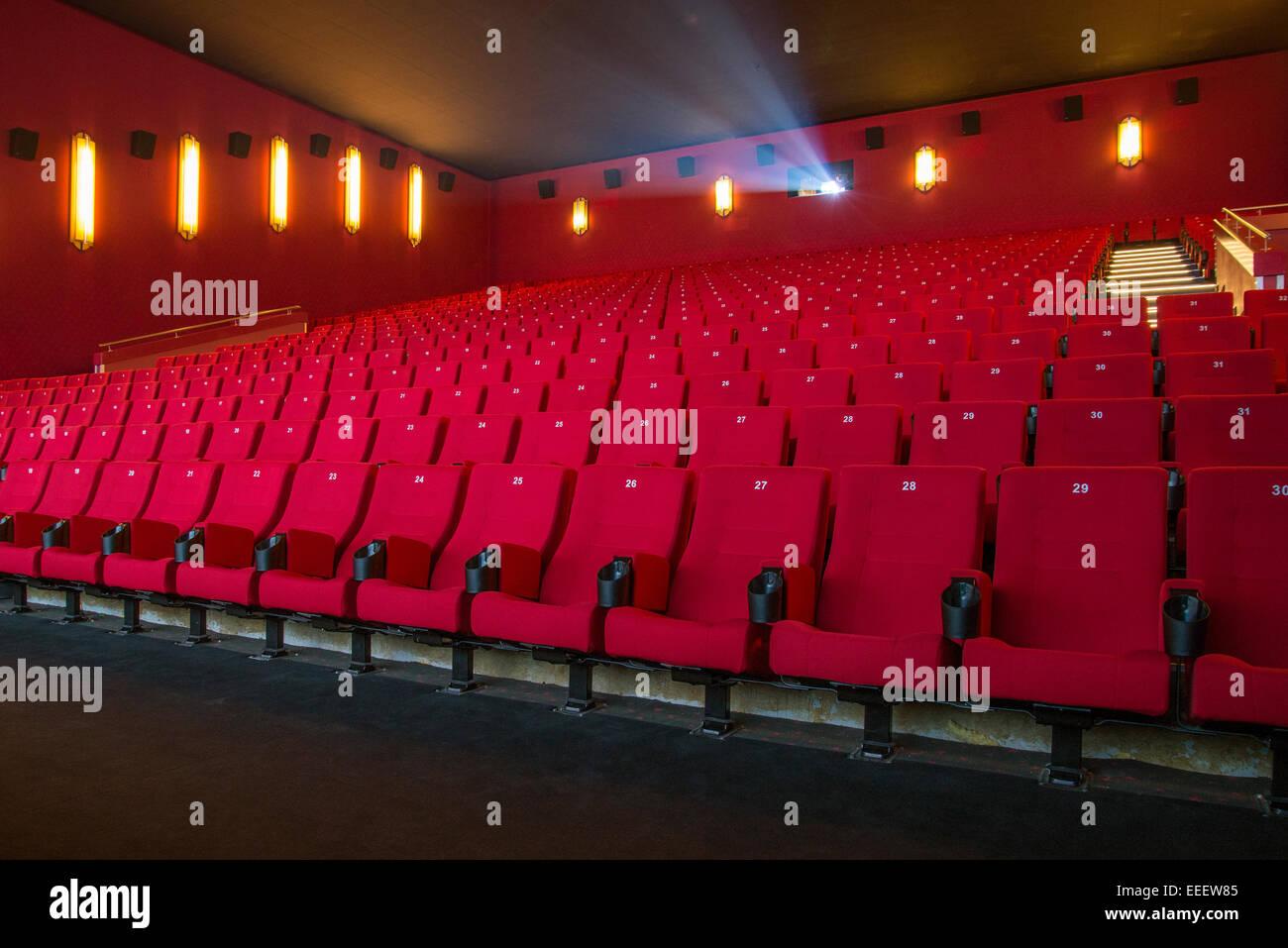 Blick auf einem leeren Kino Stockbild