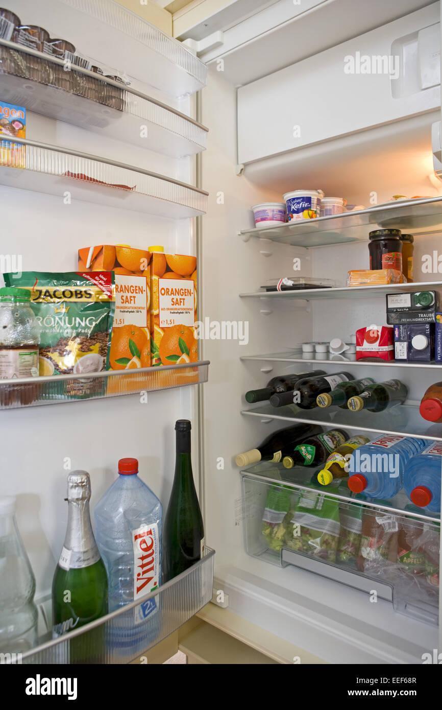 Kuehlschrank, Offen, Voll, Lebensmittel, Haushaltsgeraet, Elektrisch, Speisen, noch, Essen, Aufbewahrung, Lagerung, Stockbild