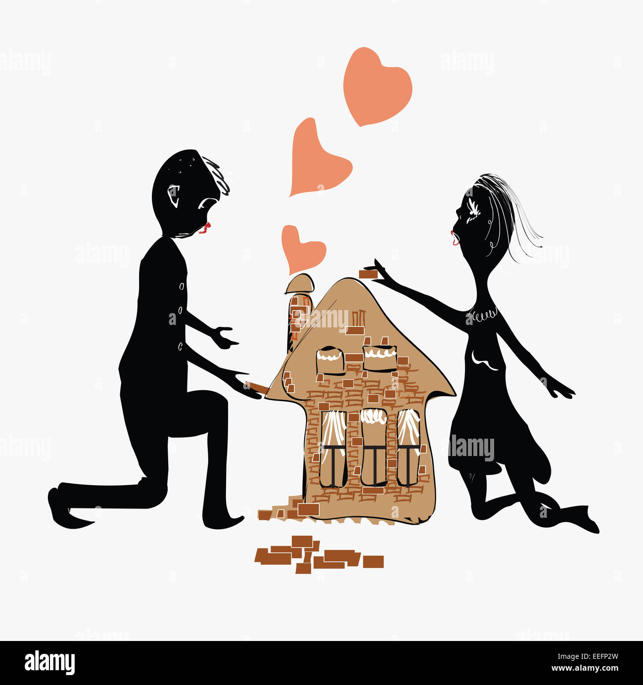 Paar ein Haus Stockfoto