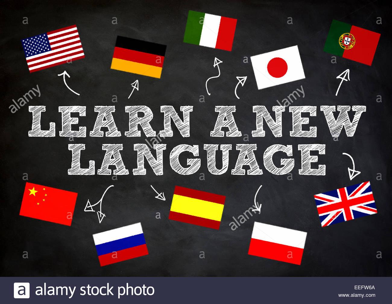 Lernen eine neue Sprache Konzept auf Tafel geschrieben Stockbild