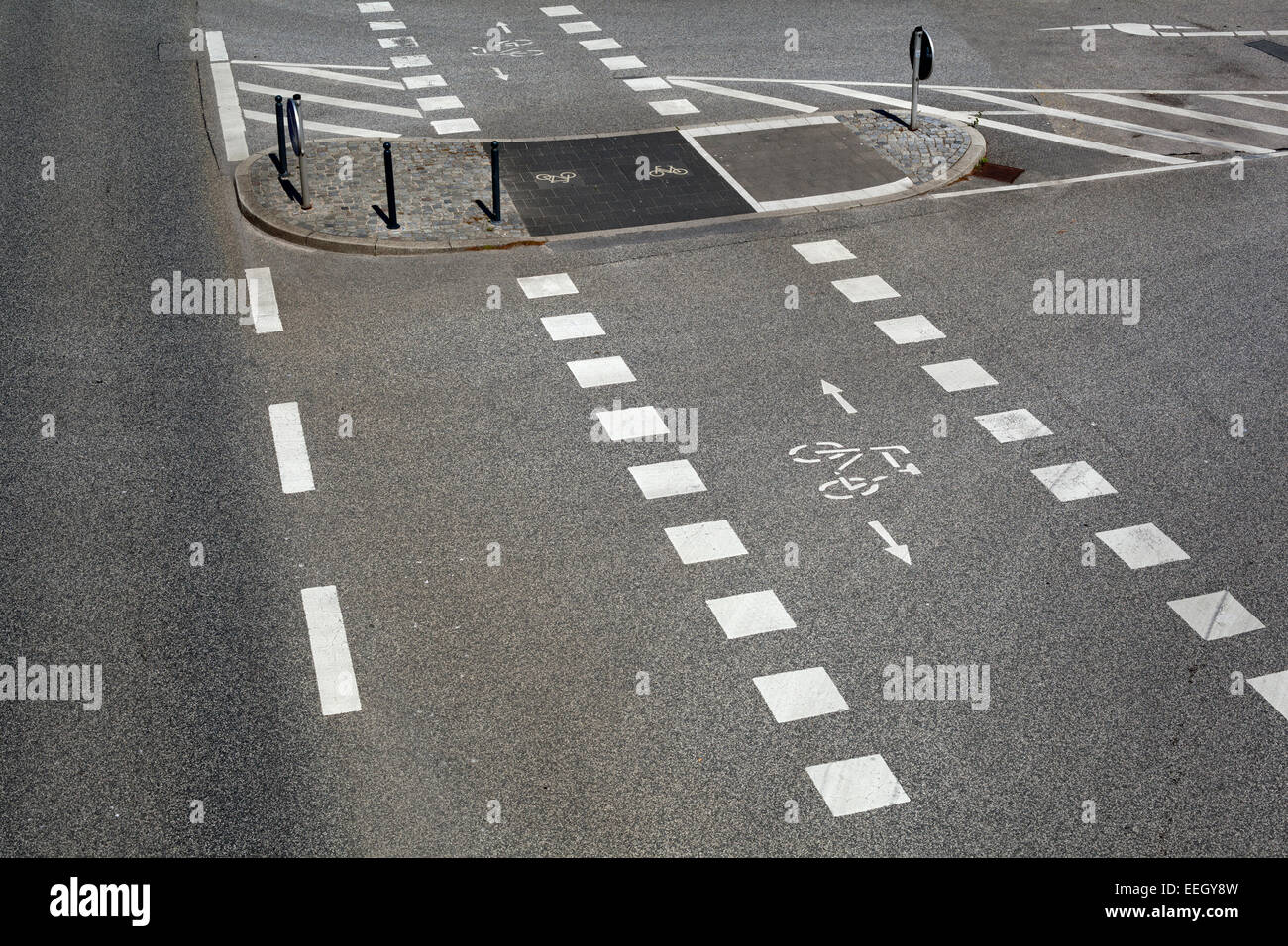 Radweg, Straßenmarkierung Stockbild