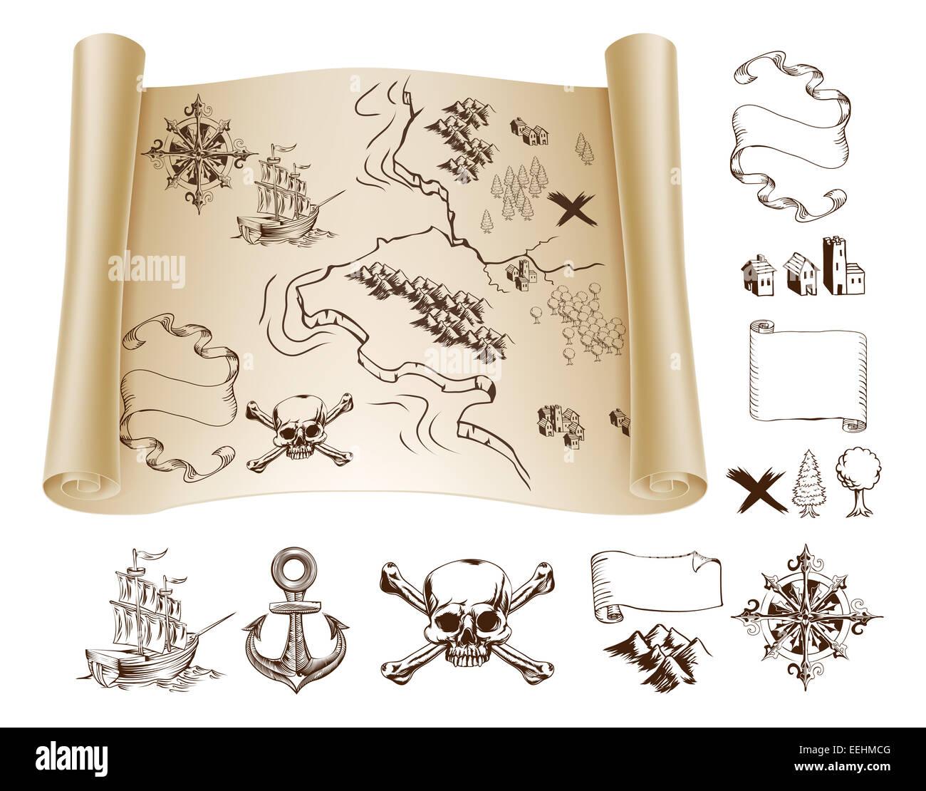 Beispiel-Karte und Design-Elemente, um Ihre eigene Fantasie oder ...